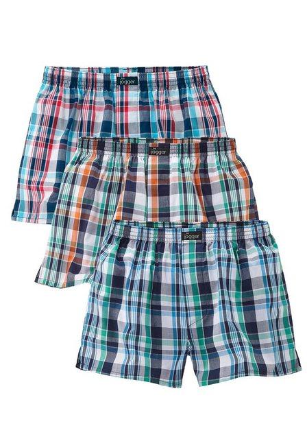 le jogger® - Le Jogger, Boxershorts (3 Stück), Webboxer in modischen Farben aus reiner Baumwolle