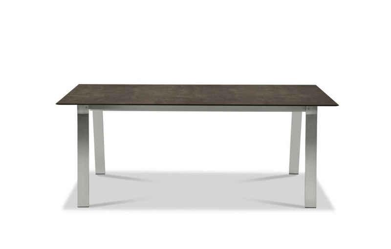 Musterring Gartentisch, Tisch Belgien 200x95 / 76 cm Metallfarben Granit
