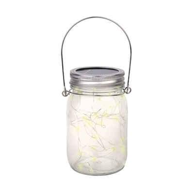 wuuhoo LED Solarleuchte »Solar-Glas Firefly I Dekoratives Licht in warmweiß«, für Garten, Terrasse und Wege I Echtglas wetterfest IP44 wassergeschützt I Deko für Außen