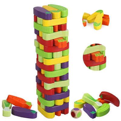 BeebeeRun Lernspielzeug (Gemüse Wackelturm Spielzeug, Brettspiele, 1-St., ab 3 Jahre mehr), Koordinations und Gleichgewichtsfähigkeit