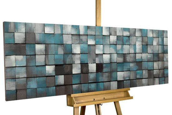 KUNSTLOFT Holzbild »Ruhe des Blauen«, handgefertiges Wandbild aus Holz