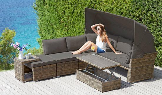 KONIFERA Loungebett »Hawaii Premium«, 19-tlg., Polyrattan, inkl. Auflagen