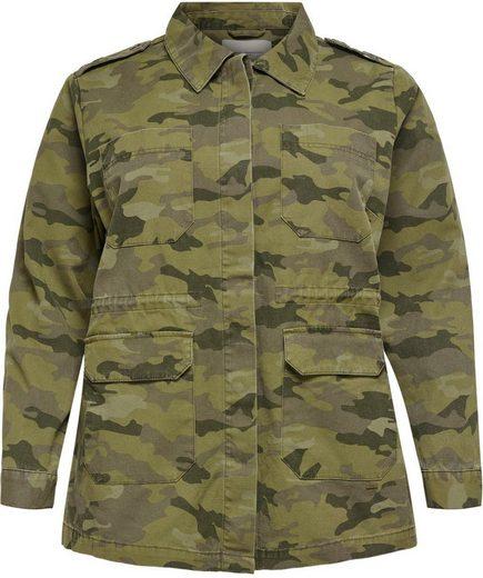 ONLY CARMAKOMA Fieldjacket in Tarnfarben-Optik mit aufgesetzten Taschen