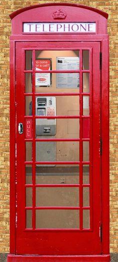 PAPERMOON Fototapete »Telephone Box - Türtapete«, Vlies, 2 Bahnen, 90 x 200 cm