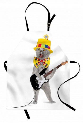 Abakuhaus Kochschürze »Höhenverstellbar Klare Farben ohne verblassen«, Katze Hipster Musiker Kitty Fun