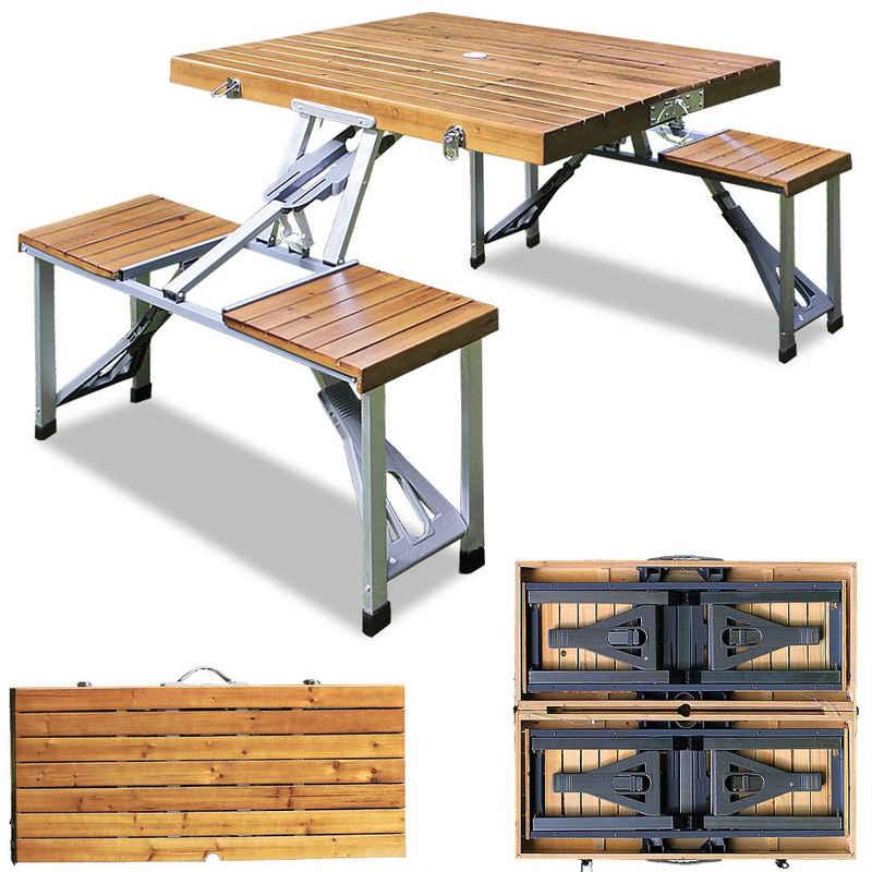 Deuba Campingtisch (1-St), Koffertisch mit 4 Sitzgelegenheiten • platzsparend klappbar • wetterfestes Alu Gestell • geringes Eigengewicht • Echtholz Tischplatte • mit Tragegriff • Sonnenschirmhalterung • leicht zu transportieren
