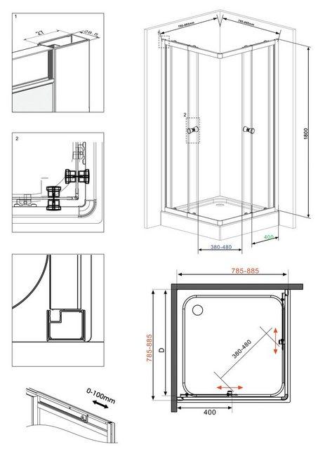Duschen und Zubehör - welltime Eckdusche »Trento Black«, BxT 90x90 cm, Sicherheitsglas, variabler Verstellbereich  - Onlineshop OTTO