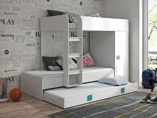 Feldmann-Wohnen Hochbett »TOLEDO 2« (Etagenbett mit Kleiderschrank) Farbe wählbar