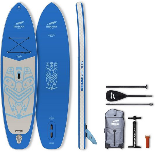 Indiana Paddle & Surf Inflatable SUP-Board »10'6 Family Pack BLUE«, (5 tlg., mit Paddel, Pumpe und Transportrucksack)