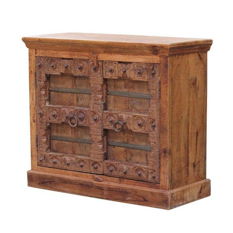 Casa Moro Sideboard »Orientalische Kommode Douha 100x45x92 cm (B/T/H) aus Massivholz mit geschnitzter Front, schmale Echtholz Anrichte, CA502180«, Kunsthandwerk