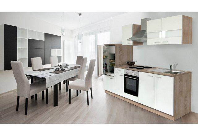 Respekta Küchenzeile 270 cm Eiche Sägerau Weiß, mit Geräten, Edelstahlherdplatten