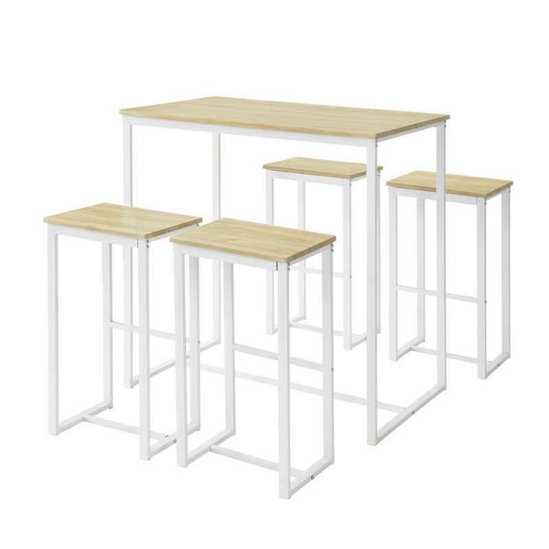 SoBuy Bartisch »OGT15«, 5-teilig Bartisch mit Stühlen Esstisch Stehtisch Bistrotisch mit 4 Barhocker Sitzgruppe