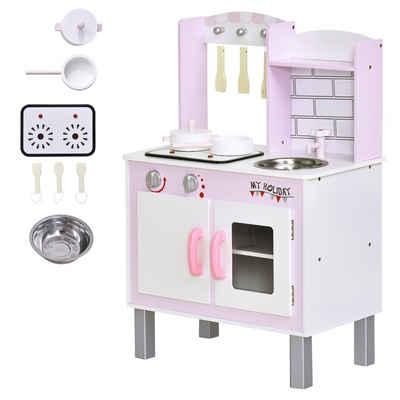 HOMCOM Spielküche »Kinderspielküche mit Zubehör« Kiefer, MDF
