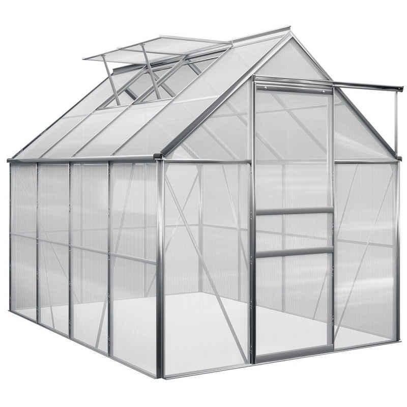 Gardebruk Gewächshaus, Aluminium 4,75m² 250x190cm inkl. 2 Dachfenster Treibhaus Garten Frühbeet Pflanzenhaus Aufzucht 7,63m³