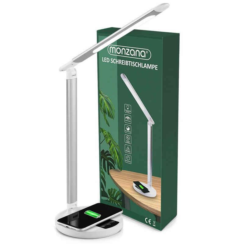 monzana Schreibtischlampe, kabelloses Laden QI dimmbar Touch Timer 5 Farb- & Helligkeitsstufen USB Anschluss Leselampe Tischlampe Nachttischlampe