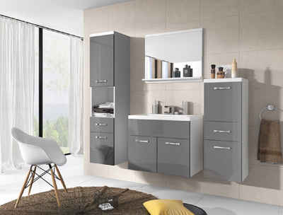 Feldmann-Wohnen Badmöbel-Set »ALBA«, (Set, 5-St., Farbe wählbar), 2 Hängeschränke + 1 Spiegel + 1 Waschbeckenunterschrank + 1 Waschbecken