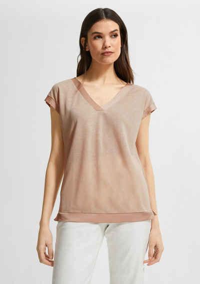 Comma Kurzarmshirt »V-Ausschnitt-Shirt mit Satinblende« (1-tlg) Blende