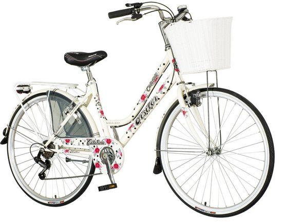 breluxx Cityrad »26 Zoll Damenfahrrad Venera Fashion Catalina Citybike mit Korb + Licht, Retro Bike«, 6 Gang Shimano Tourney Schaltwerk, Kettenschaltung