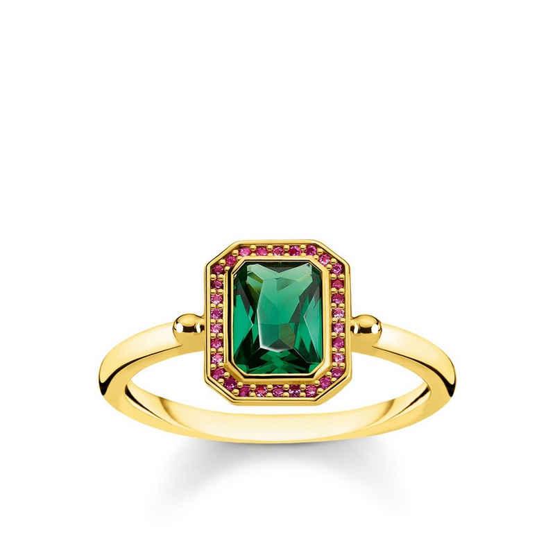 THOMAS SABO Fingerring »TR2264-973-7 Ring Damen Steine Rot & Grün Silber Gold Gr. 52«