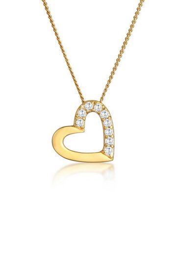 Elli Collierkettchen »Herz Zirkonia 585 Gelbgold«