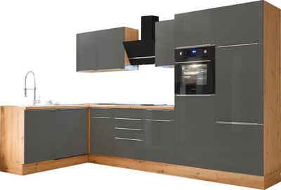 RESPEKTA Winkelküche »Safado«, mit 2 E-Geräte-Sets zur Auswahl, hochwertige Ausstattung wie Soft Close Funktion, schnelle Lieferzeit, Stellbreite 340 x 172 cm