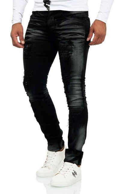 KINGZ Slim-fit-Jeans im Destroyed-Look mit auffälliger Waschung