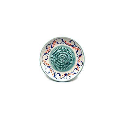 Kaladia Multireibe »Reibeteller in weiß und türkis«, Keramik, handbemalte Küchenreibe - Made in Spain