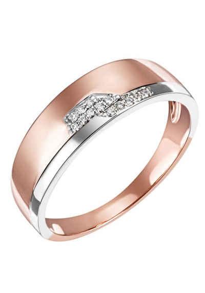 Firetti Diamantring »Feminin, Bicolor-Optik, teilw. rhodiniert, Glanz, massiv«, mit Brillanten