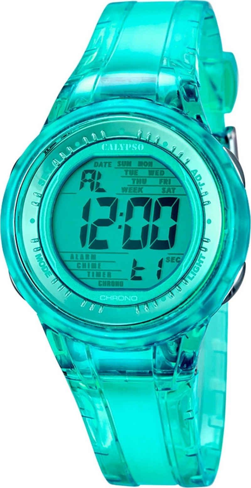 CALYPSO WATCHES Digitaluhr »UK5688/4 Calypso Damen Uhr K5688/4 Kunststoff PUR«, (Digitaluhr), Damen Armbanduhr rund, PURarmband grün, Sport