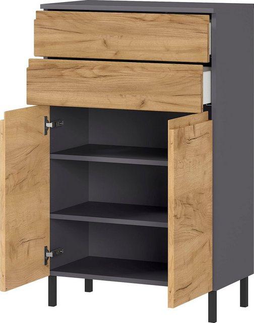 Badezimmer Sets - GERMANIA Badmöbel Set »Scantic«, (Set, 3 St), aus Spiegel, Waschbeckenunterschrank, Badkommode, inklusive Beleuchtung, grifflose Optik, MDF Fronten  - Onlineshop OTTO