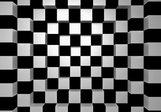 Vliestapete »Black+White Squares«, 366x254cm, 8-teilig