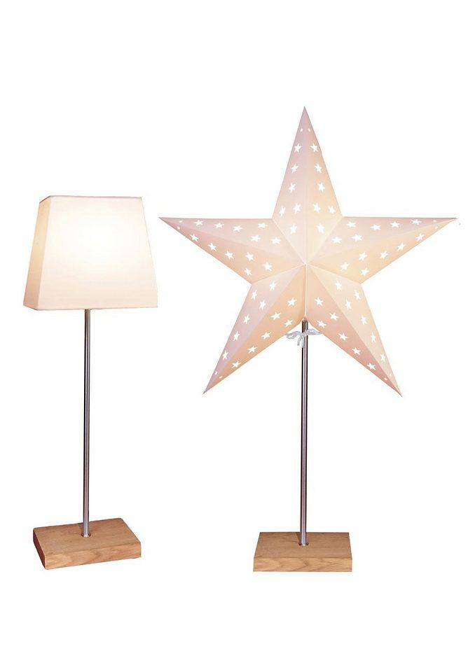 STAR TRADING Tischleuchte, 1-flammig, Mit Kunststoffschirm und Papierstern