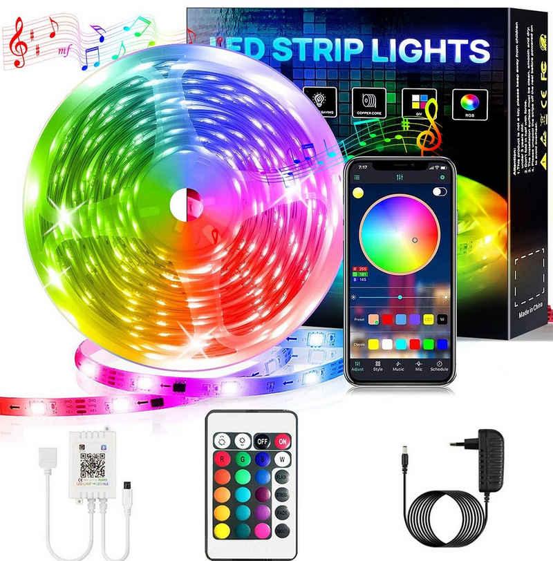 Oneid LED Stripe »LED Strip, Bluetooth RGB LED Streifen, Farbwechsel LED Lichterkette 5M/10M/15M/20M/30M mit Steuerbar via App, 16 Mio. Farben, Fernbedienung, Sync mit Musik, LED Band für Schlafzimmer TV Zuhause Schrankdek«, Dimmer, Farbwechsler
