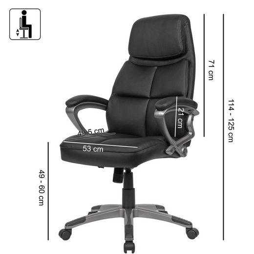 Amstyle Chefsessel »SPM1.424« Schreibtischstuhl Bezug Kunstleder Schwarz Bürodrehstuhl bis 120 kg Design Drehstuhl Höhenverstellbar Bürosessel mit Armlehnen & hoher Rückenlehne