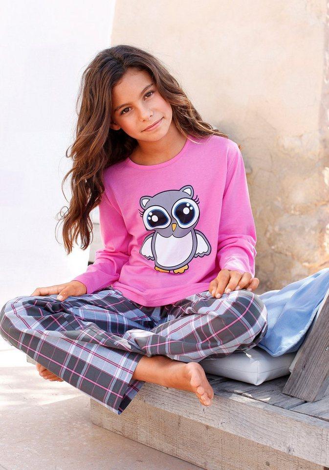 Petite Fleur, Pyjama für kleine Nachteulen - niedlicher Schlafanzug mit gewebter Hose in rosa kariert