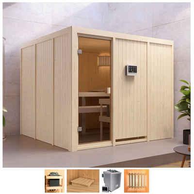 Karibu Sauna »Ferun«, BxTxH: 231 x 231 x 198 cm, 68 mm, 9-kW-Bio-Ofen mit ext. Steuerung
