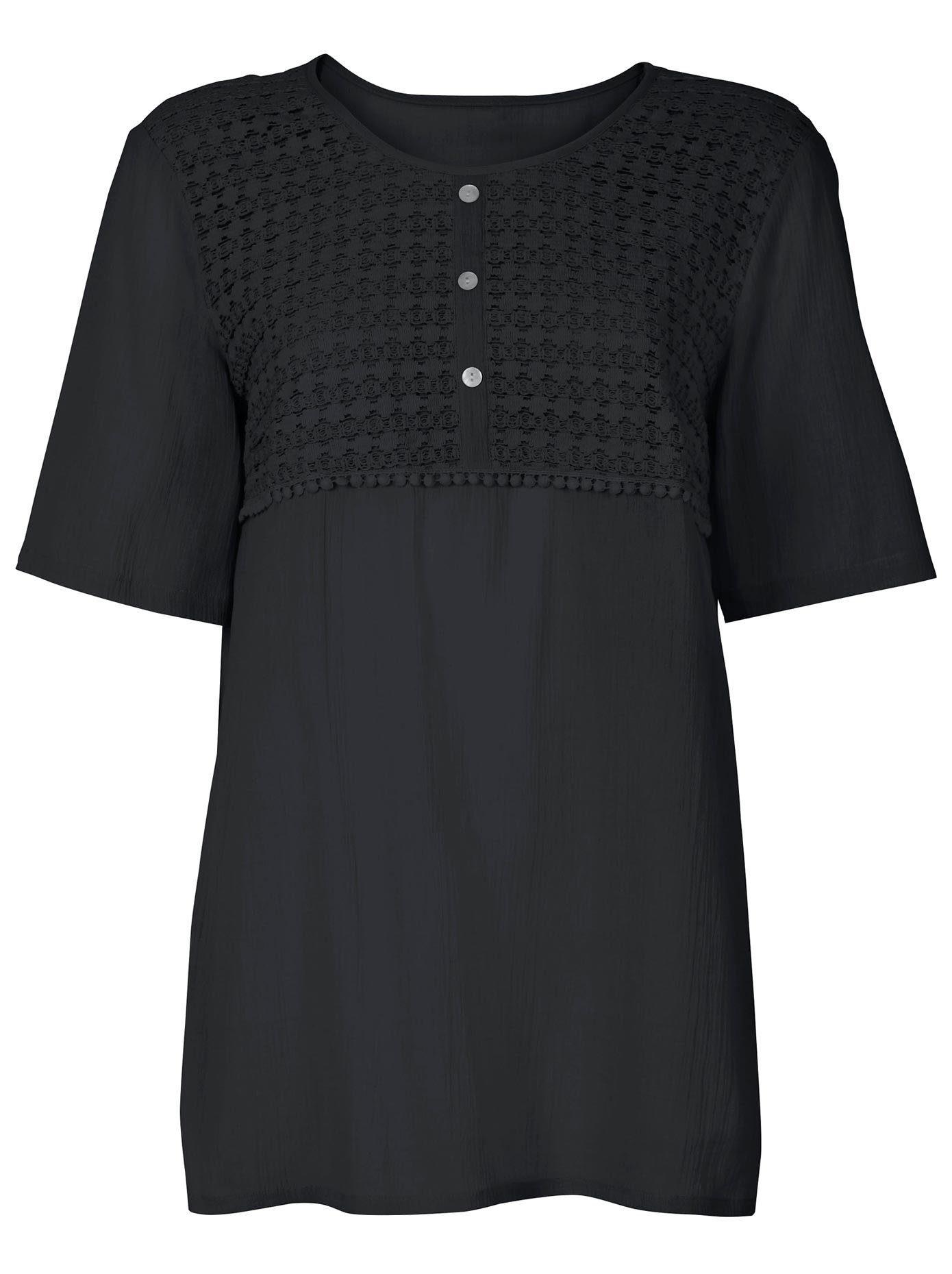leichtes Top mit Spitze 38 40 42 Bluse von Aniston in weiß und schwarz Gr