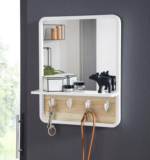 andas Wandspiegel »Drammen«, mit Ablage und 4 Metallhaken