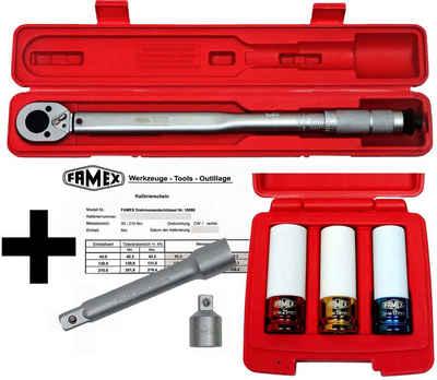 FAMEX Drehmomentschlüssel »10886-3N« (mit Spezial-Einsätzen für Radschrauben), 30-210 Nm, mit Kalibrierschein