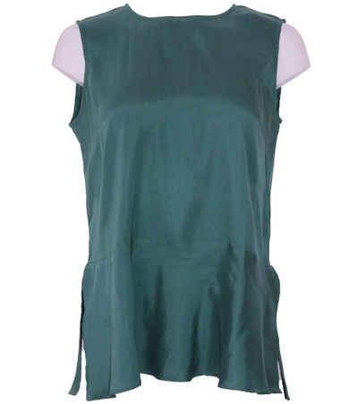 Kate Storm Shirtbluse »katestorm Blusen-Shirt weiches Damen Seiden-Shirt mit Reißverschluss im Nacken Freizeit-Shirt Dunkelgrün«