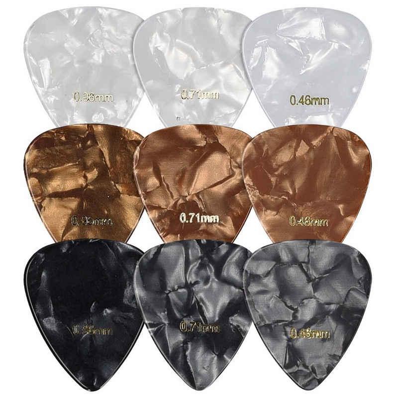 kwmobile Plektrum, für Gitarren 9 Stk. - 9x Plektrum Blättchen - 3 verschiedene Stärken 0,46mm 0,71mm 0,96mm - Plektren Set für akustische Gitarre E-Gitarre