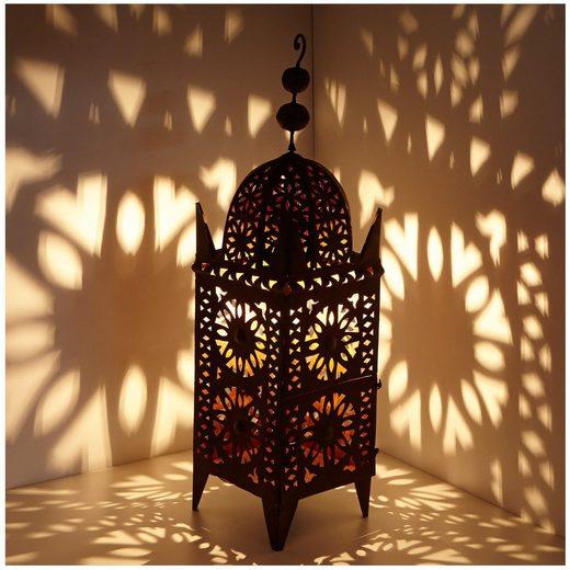 Casa Moro Laterne »Marokkanische Eisen-Laterne Anwal H-90 cm x breite 25 cm edelrost-braun für draußen & Innen, hängend & stehend, Kunsthandwerk aus Marokko, L1664«