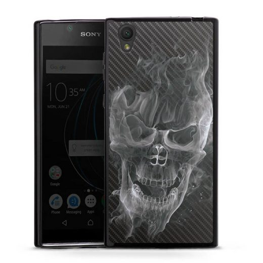 DeinDesign Handyhülle »Smoke Skull Carbon« Sony Xperia L1, Hülle Totenkopf Schädel Carbon