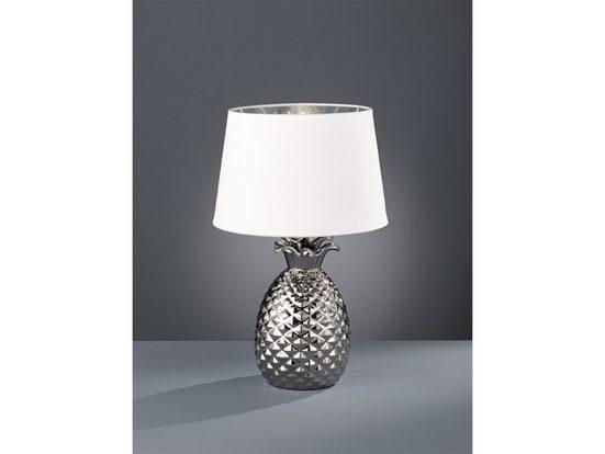 TRIO LED Tischleuchte, große Keramik Tisch-Lampe E27 mit Stoff-Lampen-Schirm rund für Wohnzimmer, Fensterbank, Schlafzimmer, Schreibtisch