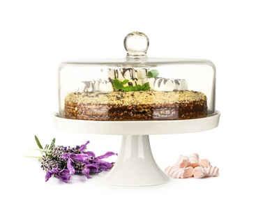 Sendez Tortenplatte »Glasglocke Kuchenglocke Käseglocke Fuß aus Porzellan Tortenplatte Kuchenplatte«