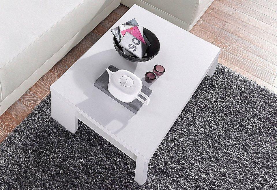 Couchtisch mit Ablageboden in weiß