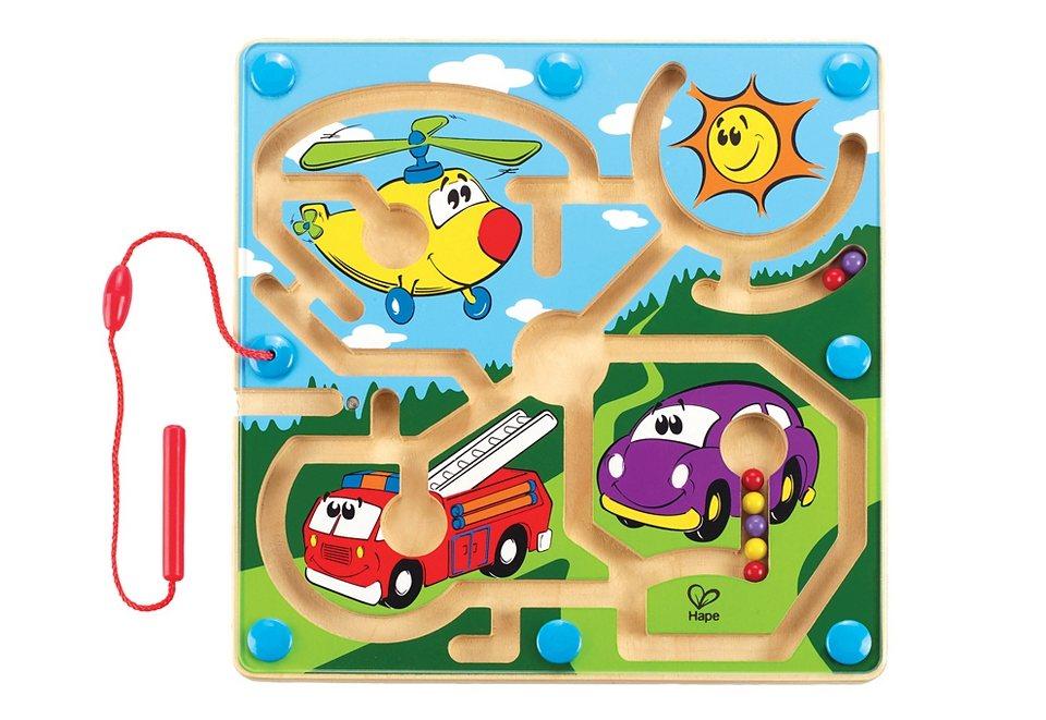 Hape Magnet-Kinderspiel aus Holz, »Mighty Motors - Motorfahrzeuge«, Geschicklichkeitsspiel in bunt
