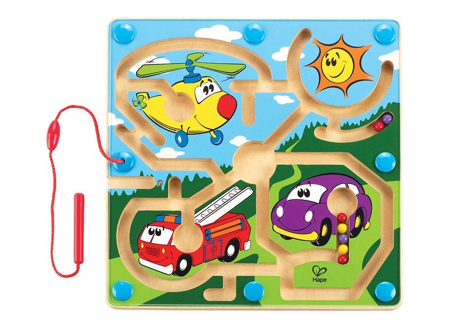 Hape Magnet-Kinderspiel aus Holz, »Mighty Motors - Motorfahrzeuge«, Geschicklichkeitsspiel