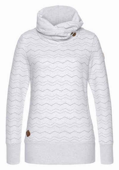 Ragwear Sweater »ANGEL CHEVRON« mit hochschießendem Schalkragen mit Zierknopfbesatz