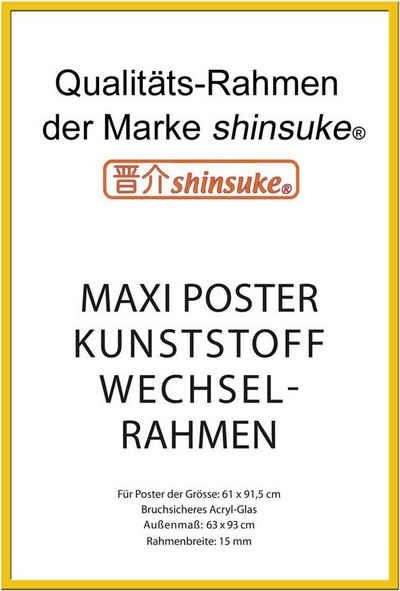 empireposter Rahmen »Posterrahmen Wechselrahmen Shinsuke® Maxi-Poster Profil: 15mm Kunststoff 61x91,5cm«, Farbe gelb mit Acryl-Scheibe